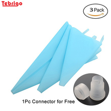 hot deal buy tebrigo silicone reusable icing piping bag pastry bag cake cream diy cake decorating tools pastry tools silicone cake tools