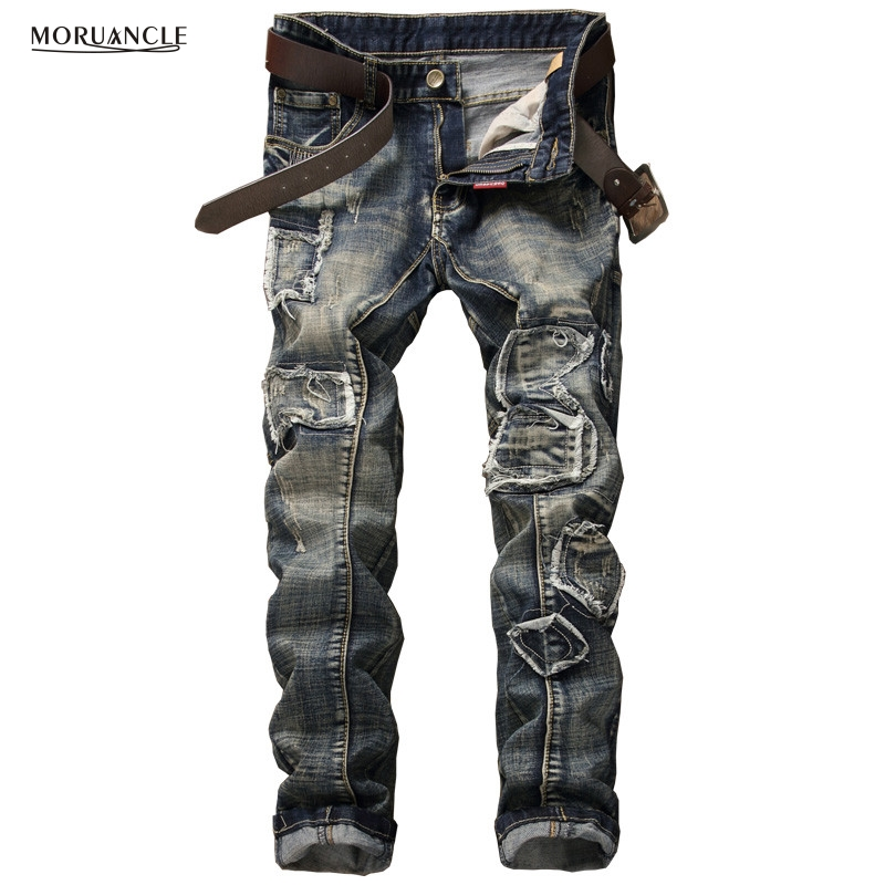 ФОТО Brand Designer Mens Patched Jeans Pants Fashion Designer Ripped Denim Joggers Vintage Slim Fit Straight Ripped Jean Trousers