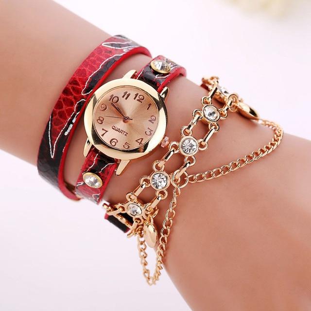 Splendid Top Brand Luxury Leather Bracelet Watches Women Fashion Rose Gold Diamond Wristwatch Ladies Chain Quartz Watch Clock