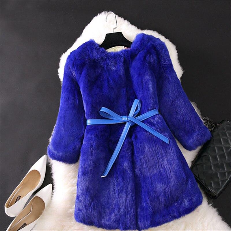Slim De Avec O490 Élégant Dames Manteaux meihongse Outwear 3xl Ceinture bleu Chaud Fourrure Royal Faux pourpre Veste Femelle Femmes Rouge gris blanc Luxe D'hiver S Lapin noir ZwtUnfPq
