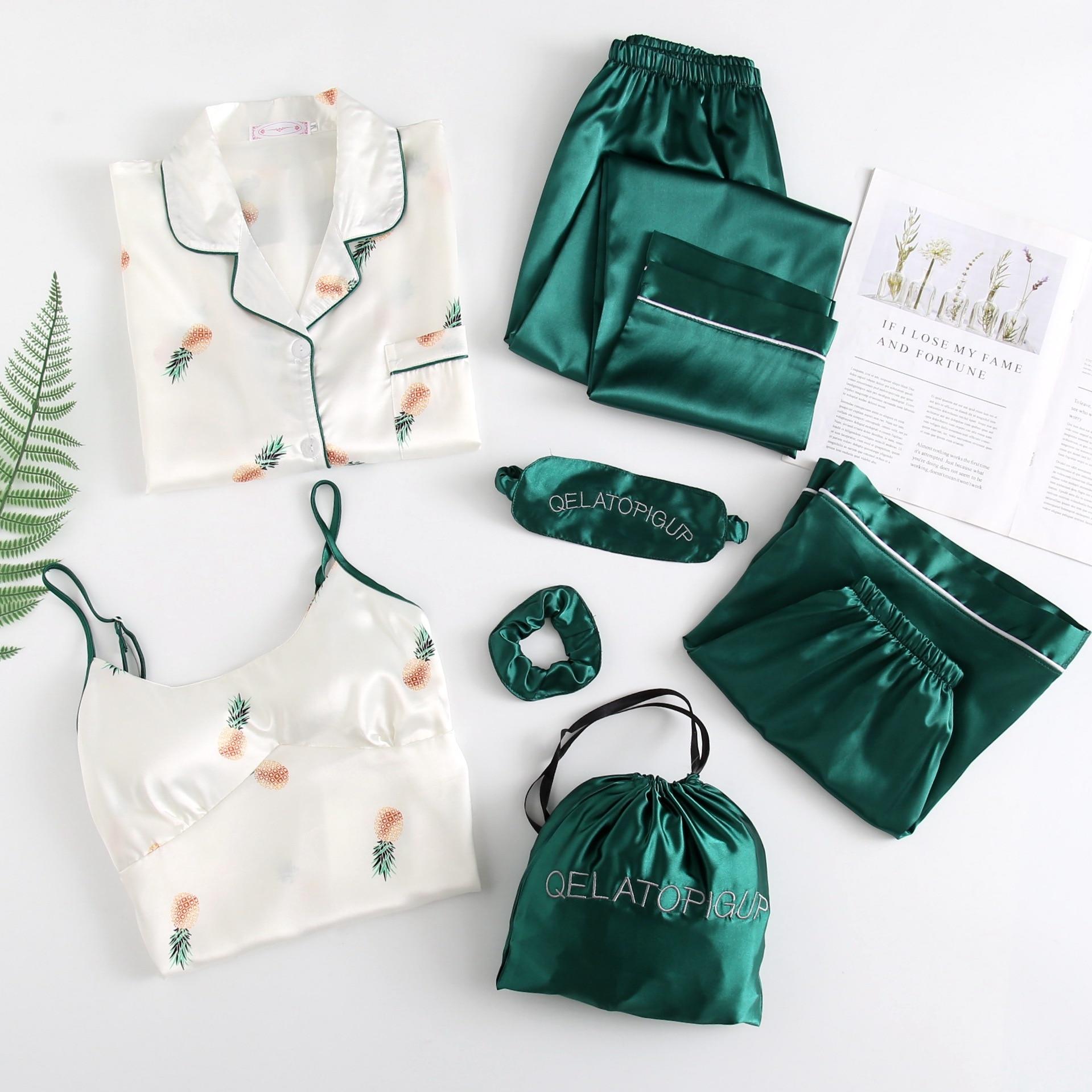 Spring Summer Women's 7 Pieces Pajamas Sets Nightwear Flower Print Silk Pijama Satin Sleepwear Thin Homewear Home Suit