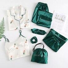 Spring Summer Womens 7 Pieces Pajamas Sets Nightwear Flower Print Silk Pijama Satin Sleepwear Thin Homewear Home Suit
