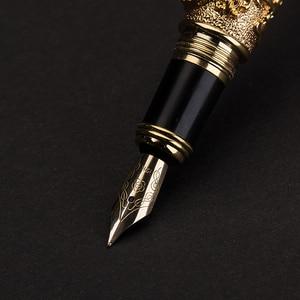 Image 4 - Pluma estilográfica dorada de 12K de dragón chino de alta calidad, pluma de tinta de 0,5mm, plumas de lujo de metal completo con caja de regalo 1050