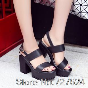 ФОТО Sandals Genuine Leather New high heel 11CM Platform 3.5CM Female summer EUR Size 34-39 G
