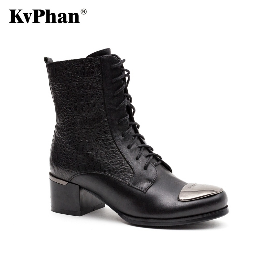 KvPhan Winter Snow Female Boots Genuine Full Grain Leather Bling Lace-up Decoration Boots Women High Quality Heels Woman Shoes high quality full grain leather and pu mixed colors boots size 40 41 42 43 44 zipper design lace up decoration round toe boots