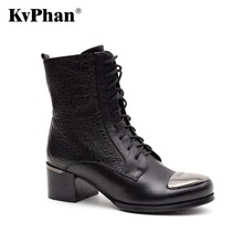 KvPhan Winter Snow Female Boots Genuine Full Grain Leather Bling Lace-up Decoration Boots Women High Quality Heels Woman Shoes
