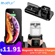 RAXFLY 3 IN 1 Magnetic Phone Charger For iPhone X S MAX XR 8 7 Wireless Charger For Apple Watch 4 AirPods Charging Dock Station