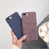 Luxury Modern Linen Fabric Matte Hard Plastic Mobile Phone Cases For IPhone8 8Plus Cellphone Protective Shell