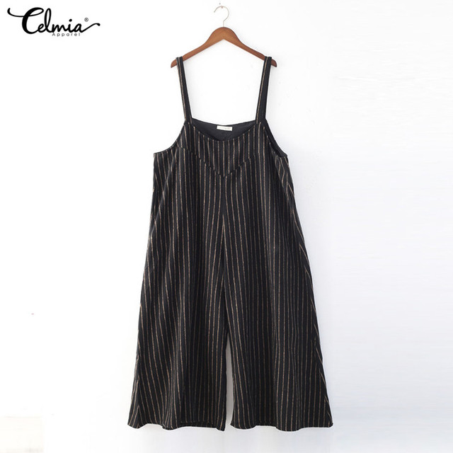 abe87d4755b Celmia Summer Rompers Womens Jumpsuit 2018 Fashion Striped Long Playsuit  Casual Loose Sexy Backless Oversized Overalls Plus Size