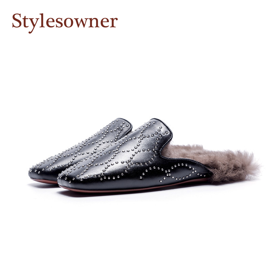 Stylesowner 2018 Autumn New Coming Semi Slipper Squared Head Toe Flat Rivets Mullers Shoe Leather Rabbit Fur Slides FemaleStylesowner 2018 Autumn New Coming Semi Slipper Squared Head Toe Flat Rivets Mullers Shoe Leather Rabbit Fur Slides Female
