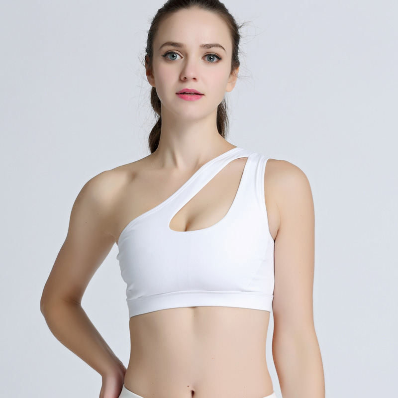ef42a95725 2019 Sexy One Shoulder Sports Bra Women Shockproof Breathable ...