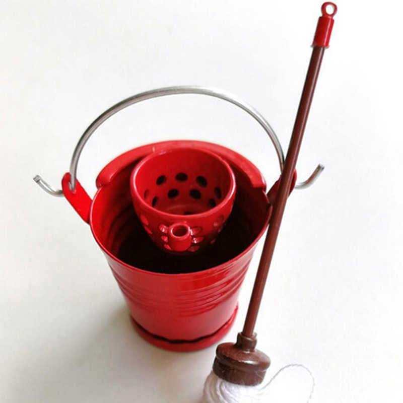 3 шт./компл. классическая мебель для ролевых игр кухонная садовая швабра ведро милые игрушки креативные подарки презенты 1:12 Кукольный домик Миниатюрный