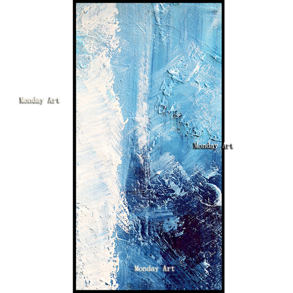 Hand painted Oil Painting Canvas Knife Abstract Blue and White Painting Pictures Of The Sitting Room Dining room Wall No Frame in Painting Calligraphy from Home Garden