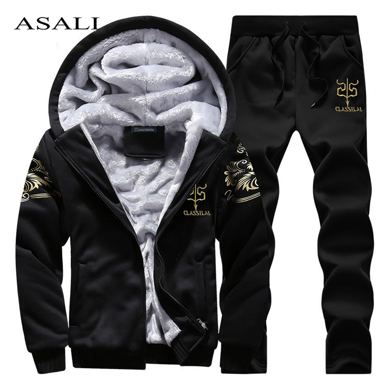 ASALI Men Tracksuit Winter Casual Mens Set Warm Thick Hoodies Sets Men 2019 Brand Clothing Jacket + Pants Suit New Fashion Print