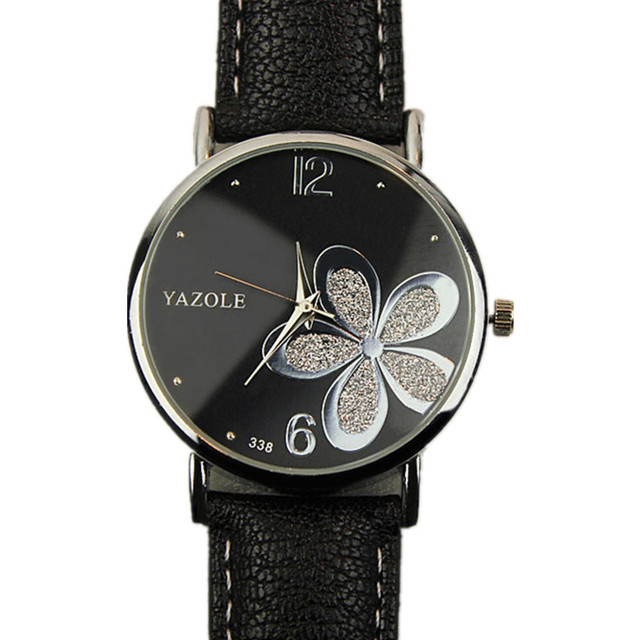 a7ce459d23 YAZOLE Watches Women Fashion Leather Strap Flower Female Clock Ladies  Crystal Quartz Wrist Watch Montre Femme