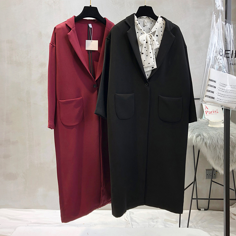 Long Women Loose Trench Coats Wine Red Korean High Street Formal Coats Knee Length Single Breasted