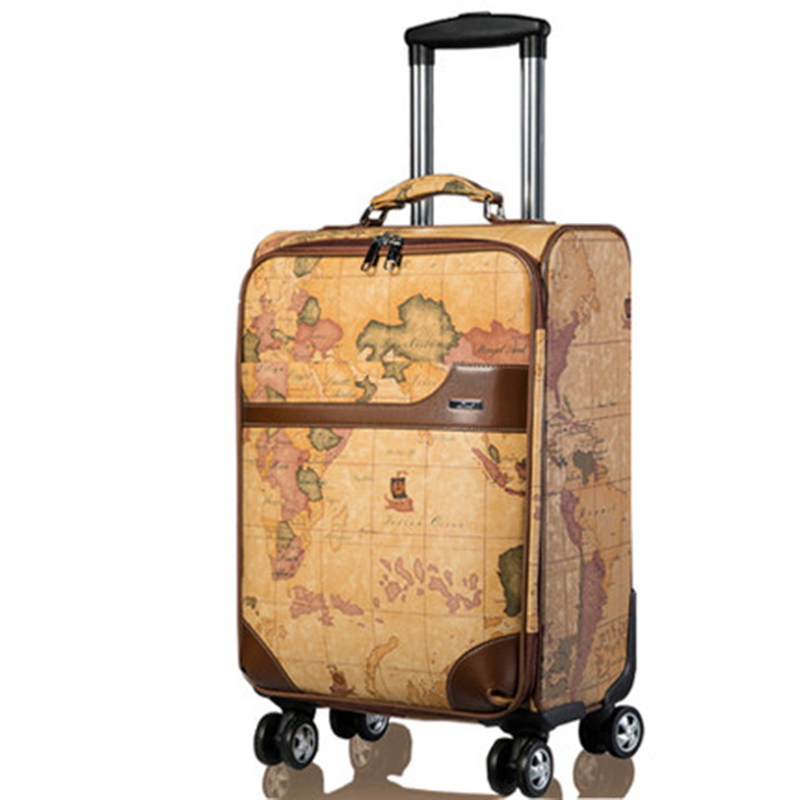 LeTrend Retro Map Spinner Rolling Luggage Women Password Trolley Men Suitcase Wheels 20 Inch PU Leather Cabin Travel Bag Trunk