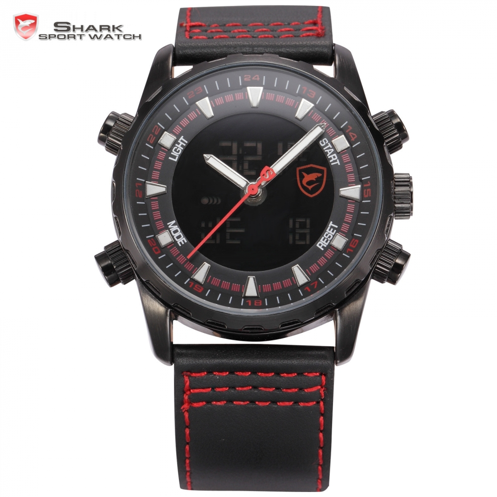 Bull Shark Sport Watch Black Red Dial Double Movement Leather Band Date Day Display Analog Quartz Outdoor Men Wristwatch /SH133 xinkai 0015 children s casual silicone band quartz analog wristwatch black red 1 x 377
