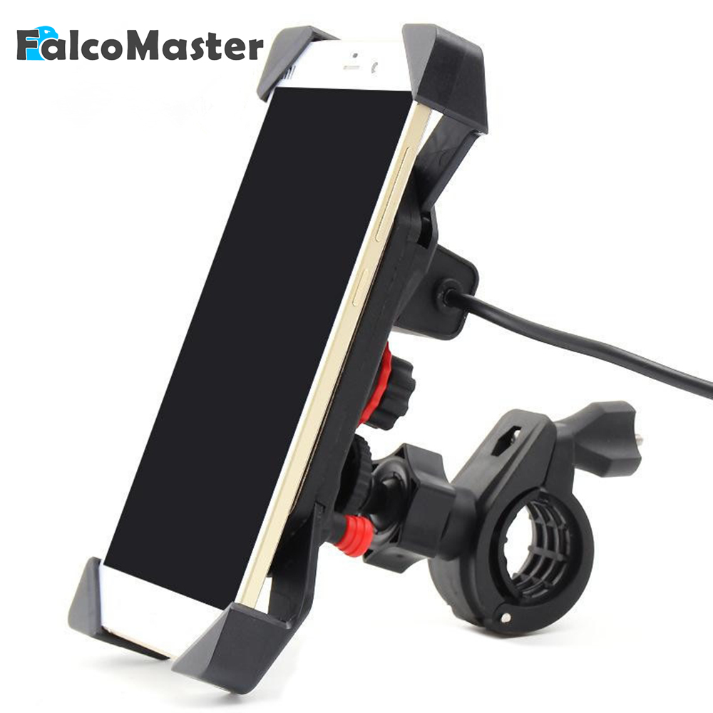 все цены на Car Motorcycle Cell Phone Mount Holder Automotive Interior Parts Charger Mobile Phone Bracket with USB Holder For Phone онлайн
