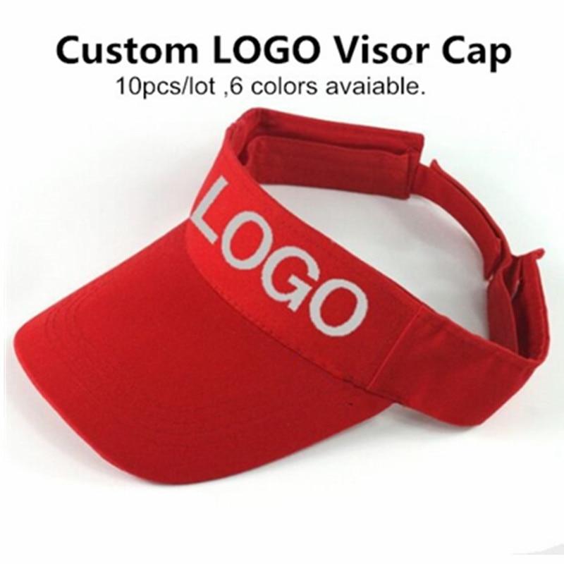 Long Keeper 10pcs lot Promotion Adult DIY Print Custom Logo Advertise Sun Visor Caps Sunscreen Beach