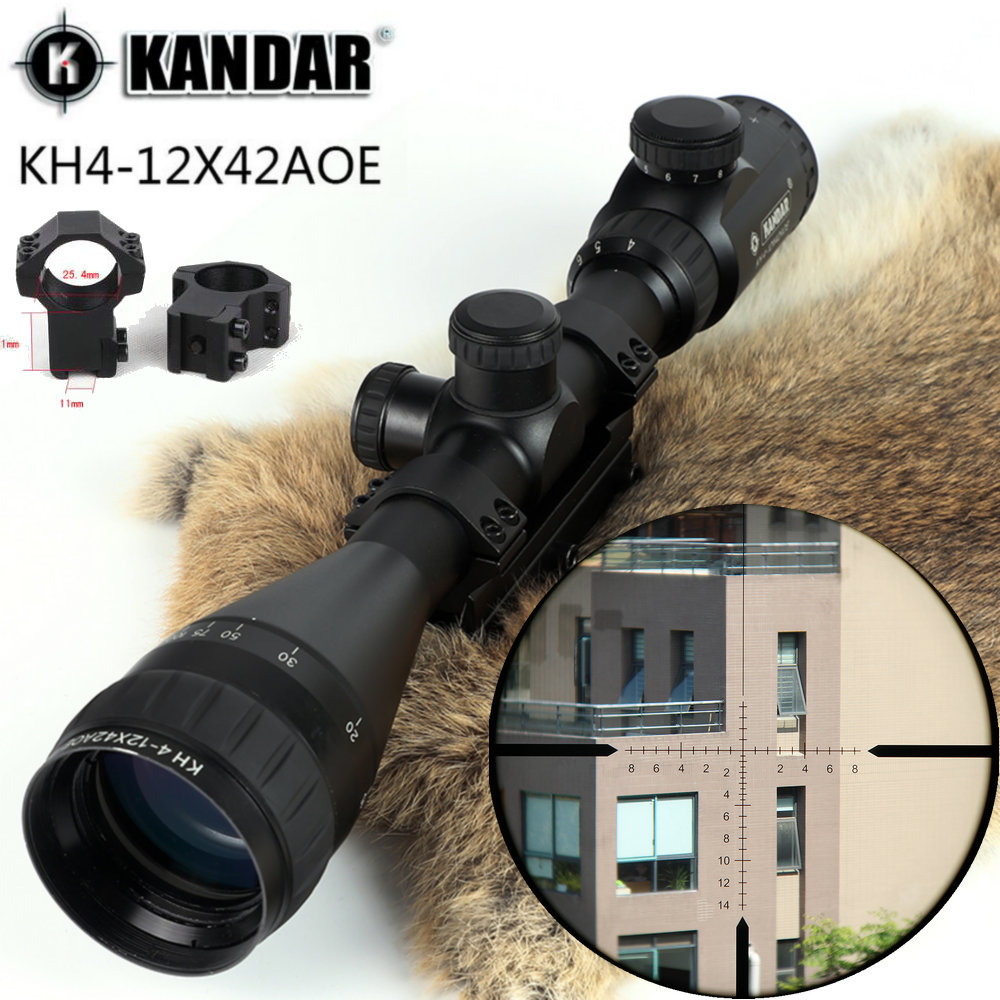 KANDAR KH 4-12x42 AOE Hunting Trail Riflescope Red Illuminated Glass Etched Reticle Sniper Optic Rifle Scope Sight with Ring kandar 4 5 14x50 hunting riflescope red special cross glass reticle sniper optic scope sight for rifle with 11mm or 20mm mount