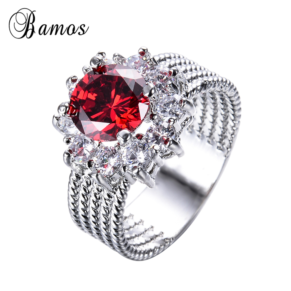 bamos female male red round ring vintage white gold filled jewelry 2017 new fashion party wedding rings for men and women - Red Wedding Rings