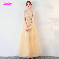 Fashion Gold Long Evening Dresses 2018 Sexy Plus Size Evening Gowns V Neck Tulle Appliques Beading