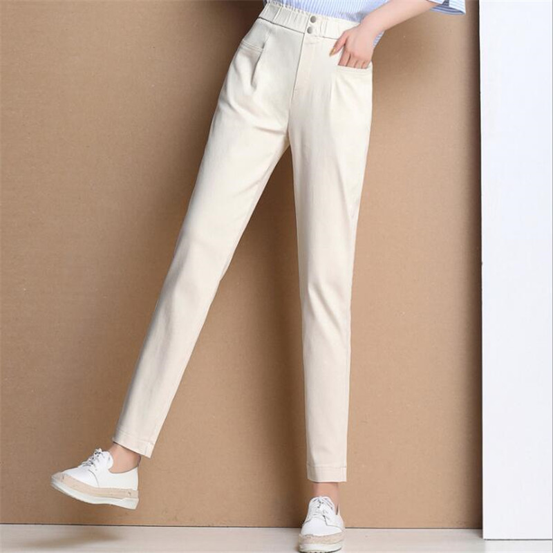 Brand Design 2019 Spring Autumn women trousers White Harem   Pants   High Waist Skinny Stretch Work OL Formal 70%Cotton   Pants     Capris