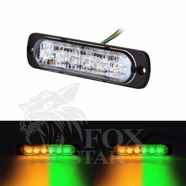 Led Strobe Lights For Trucks >> 2PCS High Quality 6 LED Car Emergency Beacon Light Bar 3W Amber & Green Led Strobe Light for ...