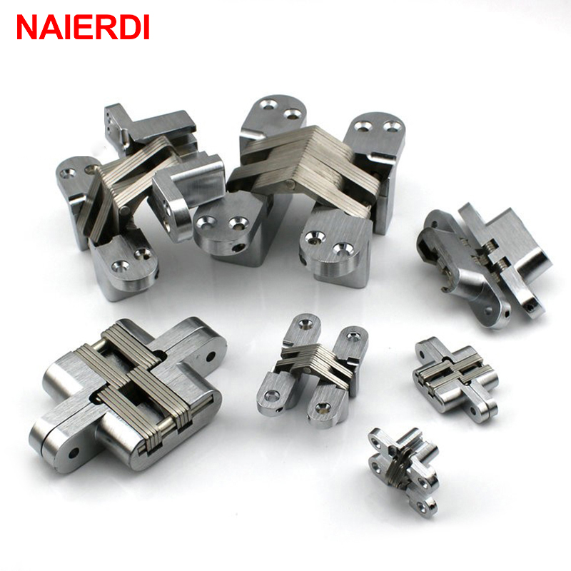 NAIERDI-4010 304 Stainless Steel Hidden Hinges 25x117MM Invisible Concealed Folding Door Hinge With Screw For Furniture Hardware hcg001 zinc alloy door concealed invisible hidden hinges folding door mount hinge cupboard door furniture hardware
