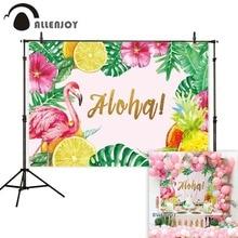 Allenjoy arrière plan photographie flamant rose ananas aloha feuilles tropicales toile de fond photobooth shoot photocall professionnel