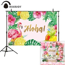 Allenjoy background photography flamingo pineapple aloha tropical leaves backdrop photobooth shoot photocall professional