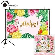 Allenjoy fundo fotografia flamingo abacaxi aloha folhas tropicais pano de fundo photobooth shoot photocall profissional