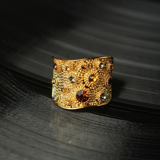 Wide Gold Plated Multicoloured Paved Rhinestones Cocktail Ring