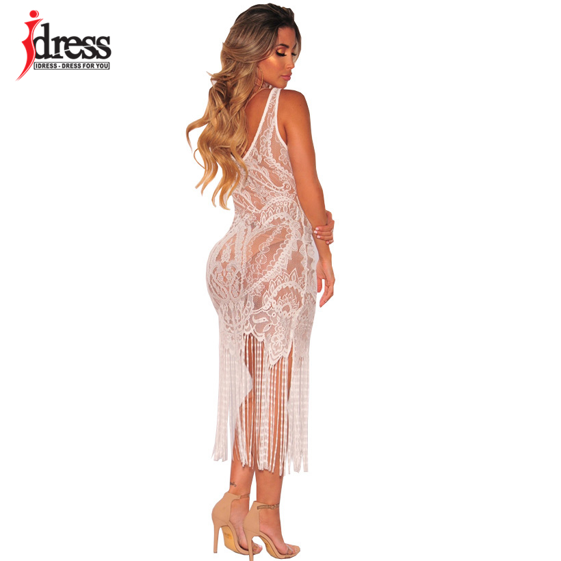 ... IDress Summer Dress 2018 Women Elegant See Through Lace Long Dress Sexy  Maxi Floral V- e65503f1823e