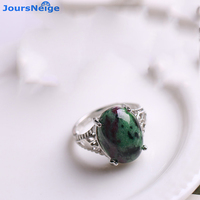 האדום סיטונאי אוצר ירוק אבן טבעית טבעת S925 טבעת כסף תכשיטי קריסטל טבעת מתכוונן מזל לגברים נשים ומתנות
