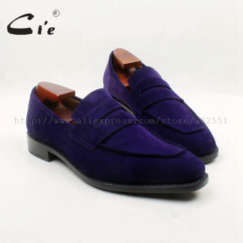 cie Square Toe 100% Genuine Leather Upper Insole Outsole Custom Handmade Purple Suede Penny Loafer Men's Shoe No.loafer 155 cie free shipping round toe adhesive craft handmade tassel slip on casual calfskin blue purple leather men s shoe no loafer 53