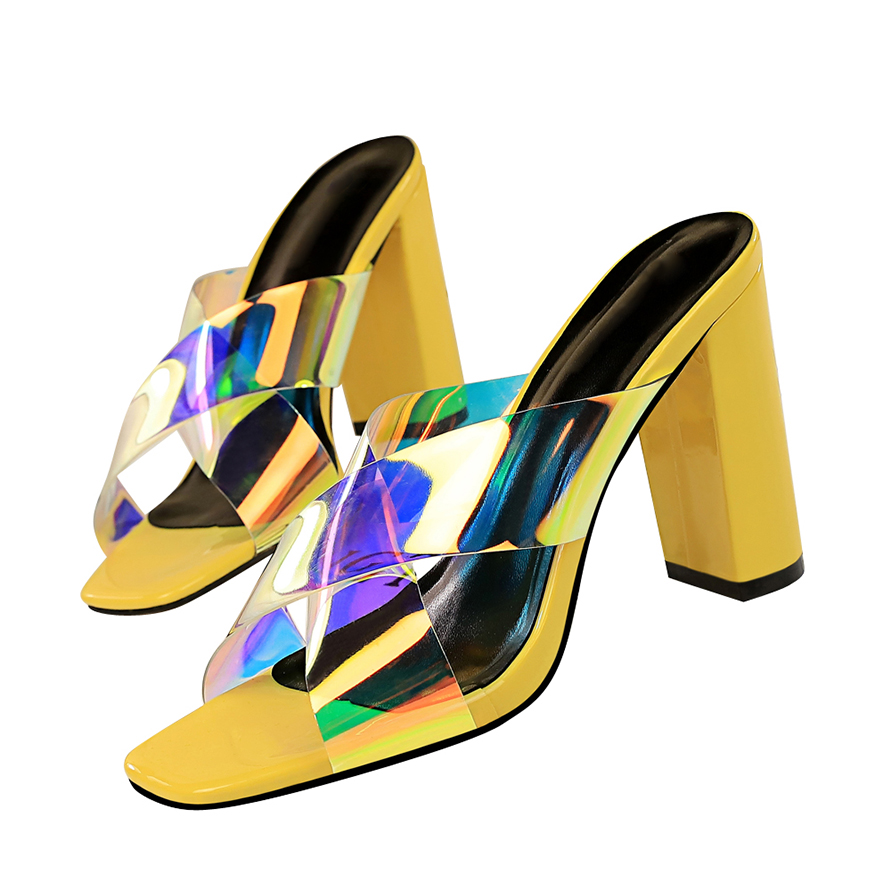 2019 Summer Women 9.5cm High Heels Mules Yellow Slides Open Toe Block Thick Heels Slipper Sandals Luxury Designer White Shoes high heels
