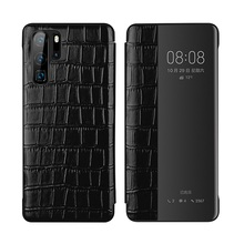 Solque Real Genuine Leather Flip Case For Huawei P30 Luxury Book Phone Cover Pro Crocodile Pattern Wake Sleep