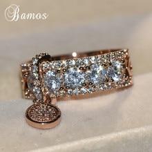 Bamos, роскошное обручальное кольцо с белым цирконием, винтажное, заполненное розовым золотом, обручальные кольца для женщин, модное ювелирное изделие, Новое поступление