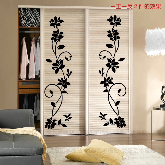 pillar wall stickers wallpaper sticker romantic wardrobe stickers sliding door flower vine. Black Bedroom Furniture Sets. Home Design Ideas