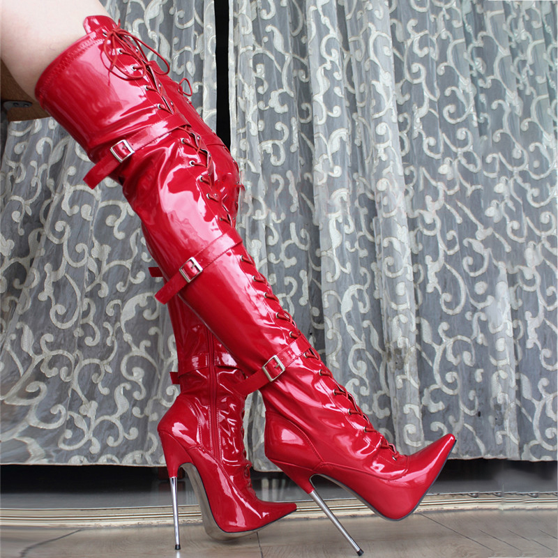 18cm High Heels Boots Women Shoes Thigh Boots Glossy Leather Zipper Lace Up Over Knee Fenty Beauty Gothic Shoes Ladies Boots