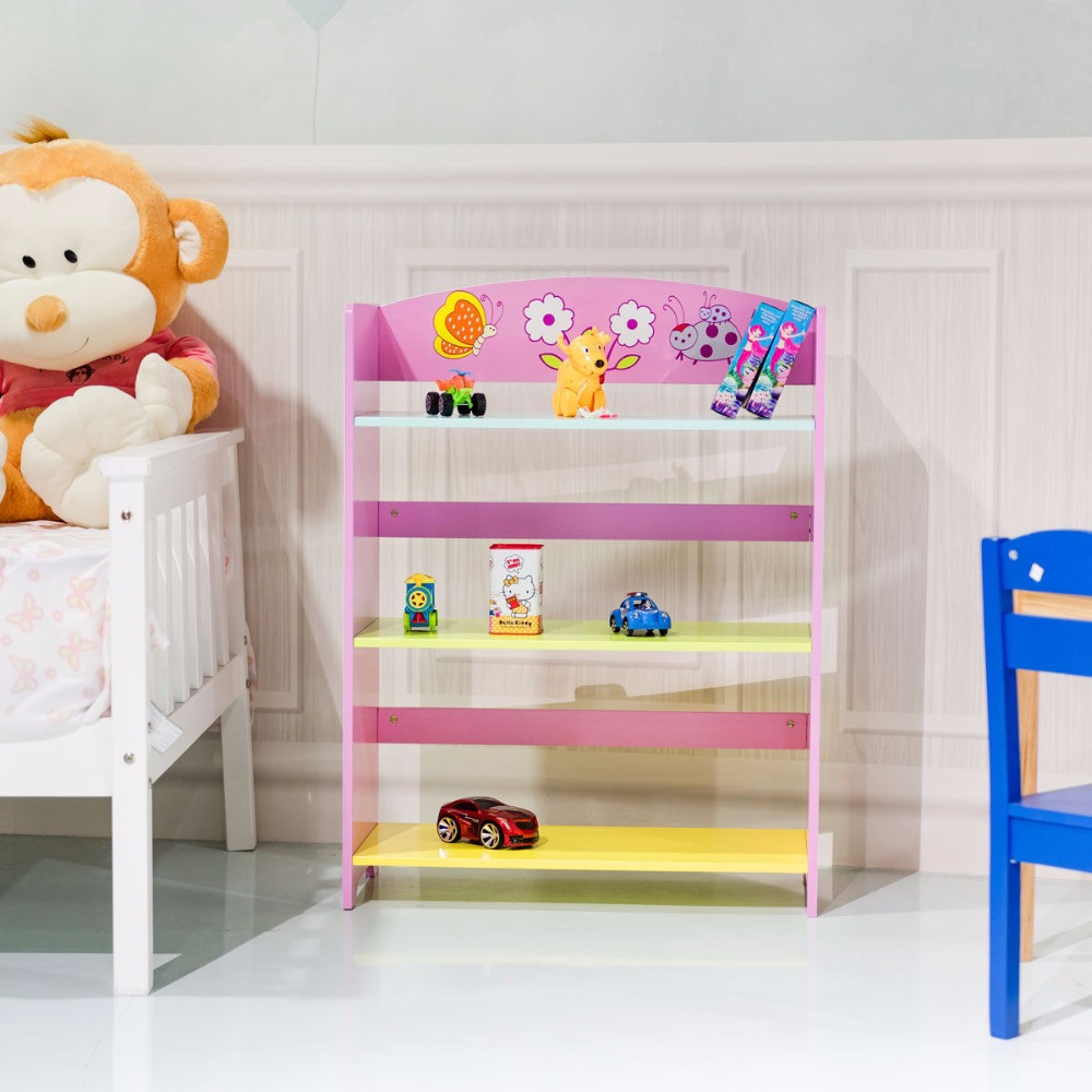 Giantex Kids Bookcase  W/3 Shelves Book Shelf Kids Adorable Corner Adjustable Bookshelf Modern Cabinet HW56660