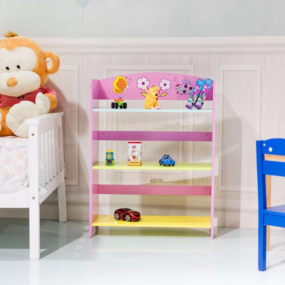 Giantex Kids Bookcase  W/3 Shelves Book Shelf Kids Adorable Corner Adjustable Bookshelf Modern Cabinet HW56660