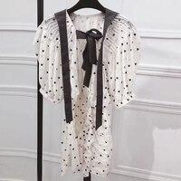 mini dress women summer fashion heart print dress 2018 short puff sleeve dress with bow