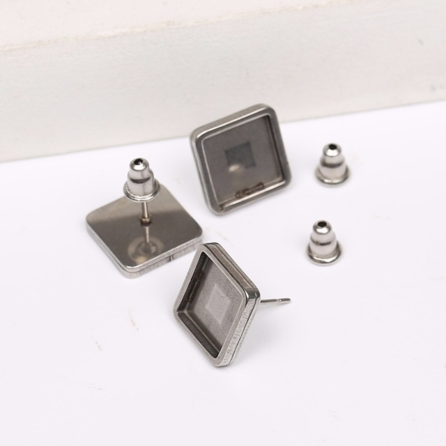 Onwear 20pcs Stainless Steel Blank Stud Earring Base 10mm Square Cameo Cabochon Setting Trays Diy Earrings