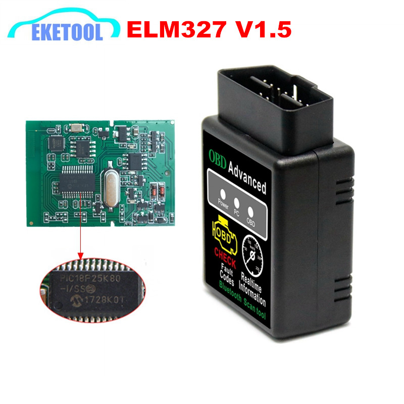 New OBD Advanced Scanner ELM327 V1.5 Bluetooth Works Android/Windows PIC18F25K80 V1.5 Hardware Diesel Cars ELM 327 V1.5 BT