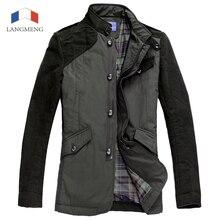 Langmeng 2016 Новый зима мужчины пальто с длинным рукавом теплой куртки мода slim fit мужской регулярный пиджаки лучшие качества весте homme