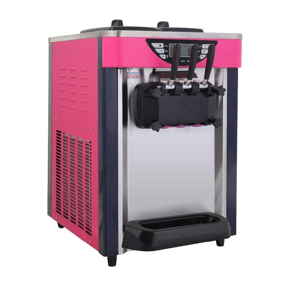 BJ218S 18-20L/H 110 v 60 hz 220 v 50 hz 3 couleur Machine à crème glacée de bureau électrique arc-en-ciel doux fabricant de crème glacée