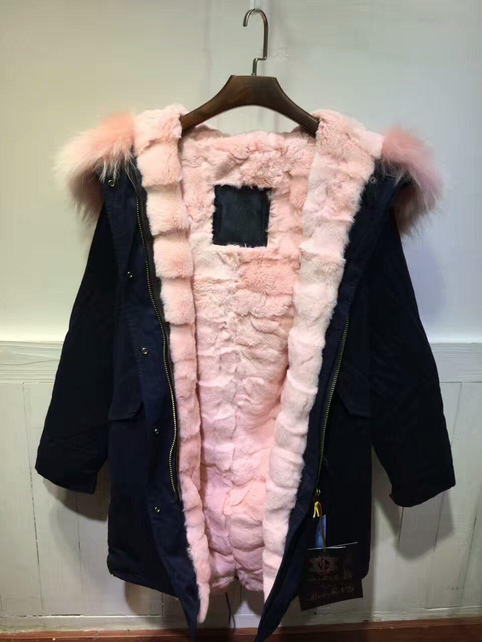 high quality warm light pink fur parka Rex rabbit fur